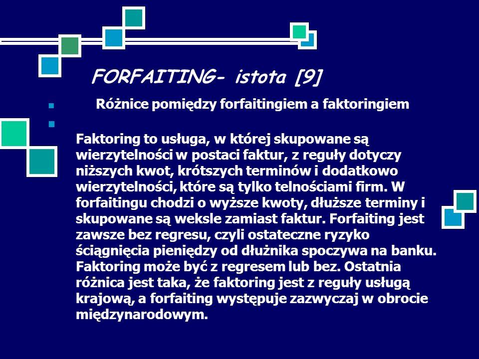 FORFAITING- istota [9] Różnice pomiędzy forfaitingiem a faktoringiem.
